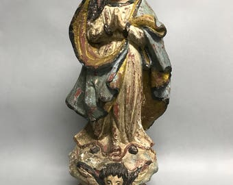 Carved Wood Religious Blessed Virgin Mary Statue