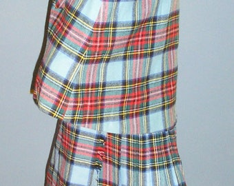 Vintage 60s,  Laird-Parch of Scotland, wool, tartan, maxi, kilt, and cape, size 14, MINT