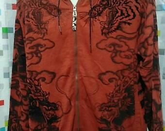 Vintage Clothing 90's rare Red Dragon Hoodies Sweatshirt, Size L