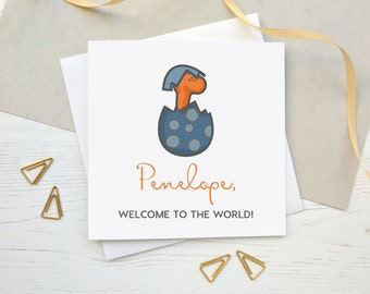 Personalised New Baby Card - Welcome to the World Card - Baby Girl or Baby Boy Card - Baby Dinosaur Card - Personalised Card - Handmade Card
