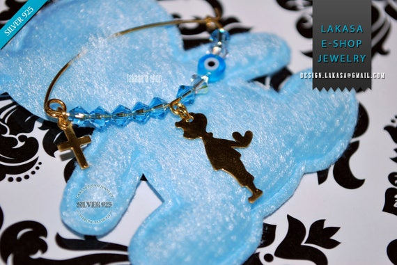 Baby Brooch Boy Heart Sterling Silver Gold plated Blue Swarovski Crystals Jewelry Best Gift Baptism Cross Birthday Mother Mommy Pregnancy