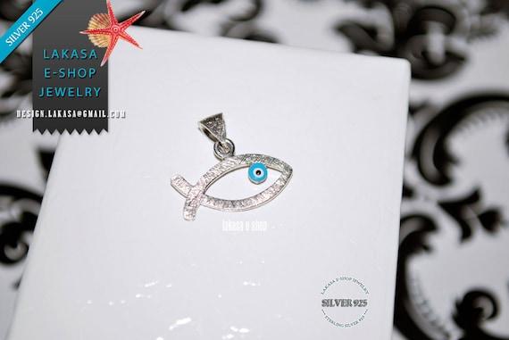 Fish Enamel Blue Eye Sterling Silver white Gold plated Religious Handmade Jewelry Baby Boy Girl Shower Day Mommy Baptism Newborn Men Unisex