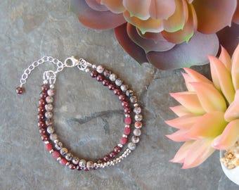 Multistrand Garnet Bracelet, Pink Gemstone Bracelet, Red Bracelet for Her, Pink Bracelet, Boho Layered Bracelet for Women, Red Gift for Wife