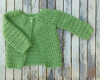 Green Falling Leaves Cardigan- 1-2 years