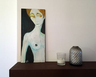 Painting on wood, decorative gift - naked torso woman with yellow eyes
