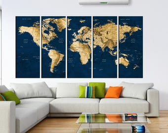 Delicieux Navy Blue Push Pin World Map Wall Art Canvas, Detailed Old World Travel Map  For