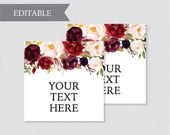 EDITABLE Wedding Tags - Printable Marsala Floral Wedding Labels, Rustic Flower Square Wedding Buffet Labels or Tags, Pink Editable Tags 0006
