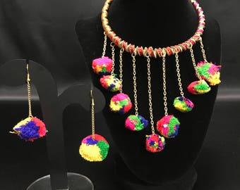 Pom Pom Jewelry - Garba Jewellery - Navratri Jewelry - Pom Pom Earrings - Indian Jewellery - Festival Jewelry Set - Indian Tribal Jewelry -