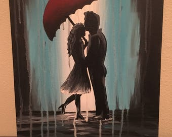 Abstract Acrylic painting on canvas - couple silhouettes in the rain