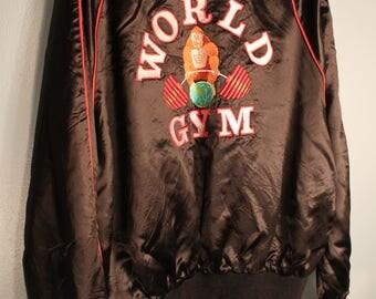 Vintage 1980's World Gym Gorilla Black and Red Bomber Jacket Size Medium