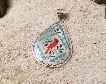 Mosaic Inlay Cardinal Pendant