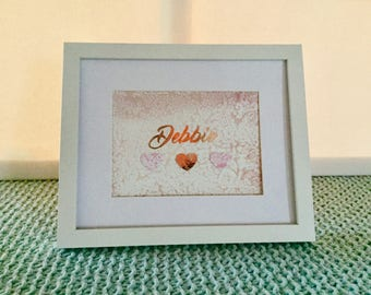 Customised  Rose Gold - Water colour gift calligraphy - Artnames