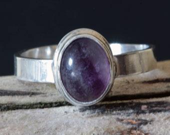 Silver Purple Flourite Ring