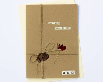 Much Love To You Romantic Handmade Wax Seal Dried Flower Greetings Card