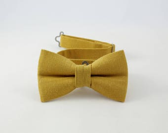 Mustard Yellow bow tie,Vintage, 100% Linen bowtie for boys, yellow bow tie, adjustable pretied kids bowtie, metal hook adjustable bowtie