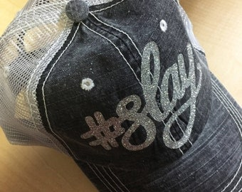 SLAY-Distressed Trucker Hat-Black w/ Glitter NEW!