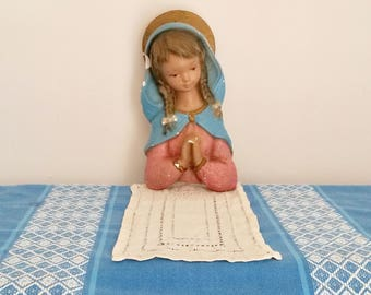 Antique Statuary, Child, Statue, Little Girl Praying, Large Chalk Statue, Religious Statue, Devotional Statue