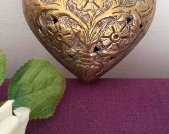 Large Heart Tin - Heart Shaped - French Tin - Silver Plated - Jewellery Box - Pretty - Gift for Her