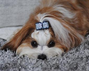 Dog hair bow - STAR DOG BOW - dog hair bows/ puppy bow/ clip dog hair bows / pet hair accessories *gift for her *dog hair accessories