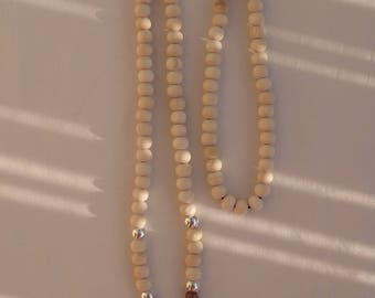 Buffalo head necklace and wooden beads