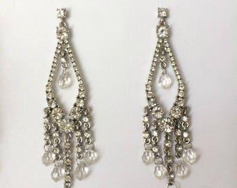 Vintage 1950's Clear Rhinestones & Beads Silver Dangle Drop Long Chandelier Earrings