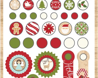 I Love Christmas Decorative Brads and Tags - Echo Park Paper