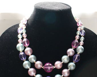 Vintage Very Large Beaded Double Strand Necklace in Purple, Pink, and Blue Beads