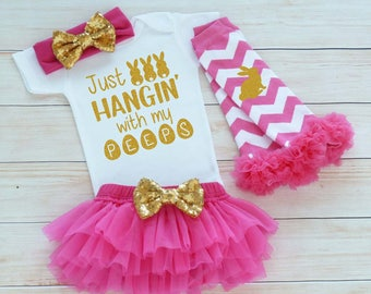 My First Easter, Easter Outfit, Hangin With My Peeps, Baby Girl Easter Bodysuit, Baby Girl Easter, Baby Easter Shirt, Baby Girl Easter Gift