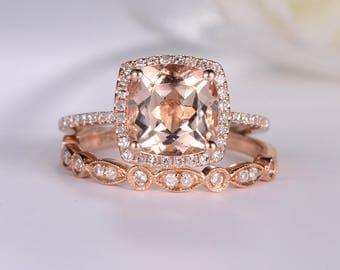 rose gold engagement ring cushion cut morganite ring antique wedding band women halo diamond half eternity - Rose Gold Wedding Rings For Women