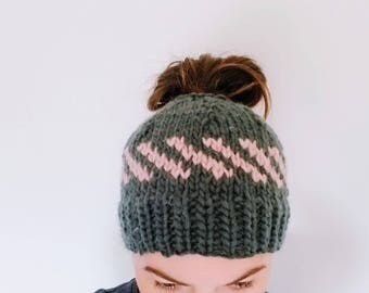 Charcoal and Blush Bun Beanie