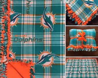 LARGE DOLPHINS NFL Handmade Fleece Tie Blanket | 55x65 | Miami Dolphins Football Blanket | Miami Dolphins Fan