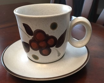 Vintage Noritake Folkstone - Orinda 8540 - Genuine Stoneware - Cup and Saucer - Made Between 1975 - 1981 - Made in Japan