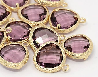 2pcs, 16x13x6mm Real Gold Plated Brass Glass Pendants, Faceted Triangle Charms, Plum