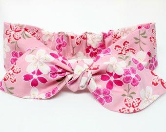 Pink Cherry Blossom baby headband, baby topknot, knotted headband, baby headband, baby headband, cherry blossom headband
