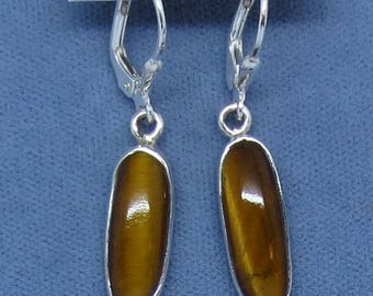 Tiger Eye Leverback Earrings - Sterling Silver - Long Oval Simple Small Lightweight - 171108 - Free Shipping