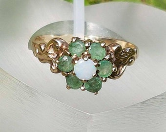 Opal & Emerald Flower Cluster Gold Ring