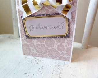 will you be my bridesmaid / handmade bridesmaid card / handmade wedding party cards / handmade bridal party cards / wedding planning