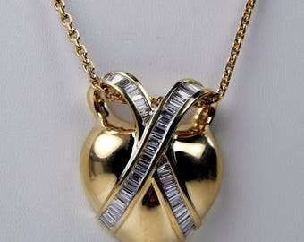 14k Gold 4 Ctw diamond heart pendant necklace #10591