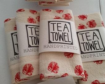 Handprinted Tea Towel: Ohia Lehua
