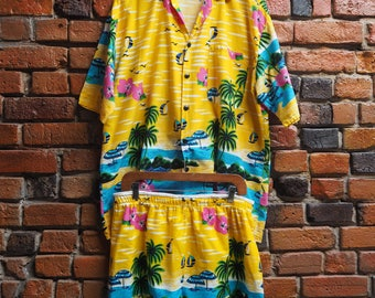 Men's 90s Yellow And Blue Hawaiian Shirt And Shorts Matching Two Piece Size Large