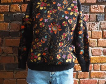 Women's 90s French Connection Black Pure Virgin Wool Sweater With Hippy Floral Pattern Print Size Small Medium