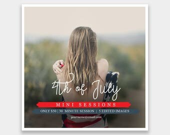 4th of July Mini Session Template Square | Photography Template | Photographer Resources | M45