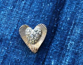 Vintage Coro Gold Tone and Rhinestone Mini Heart Brooch Pin- Signed