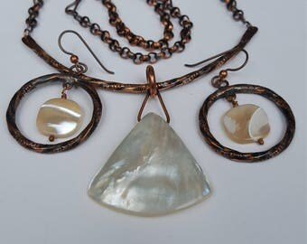 Handcrafted, Organic, Twisted Copper & Mother of Pearl Pendant with Matching Earrings