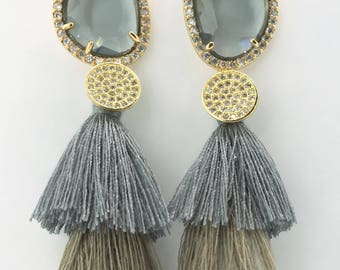 Gray Quartz tassel earrings, pave cz's