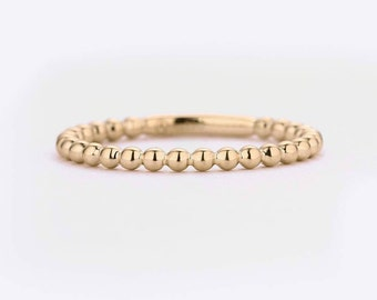 Solid 14K Gold wedding band women Dainty Eternity Bead gold ring Unique Stacking ring Midi Bridal Set Jewelry Anniversary Promise Gift