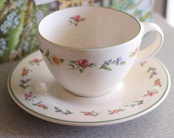 Pfaltzgraff Flat Cup and Saucer Set - Olivia Pattern - 90s