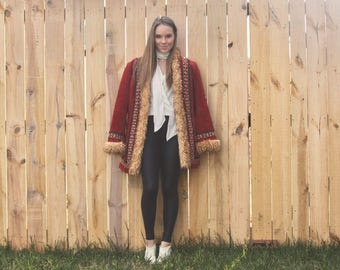 Burning Down the House - Penny Lane Coat, Shearling Coat, Embellished, Maroon, Faux Shearling Coat, Afghan Coat, Almost Famous Coat