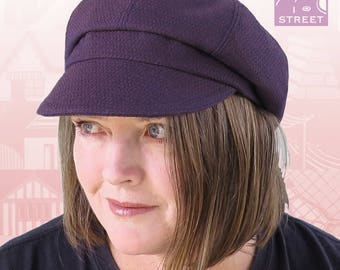 Newsboy cap slouchy cap boho cap purple wool winter cap cycling cap