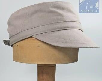Combat cap military cadet cap cotton light brown natural beige peaked cap adjustable size